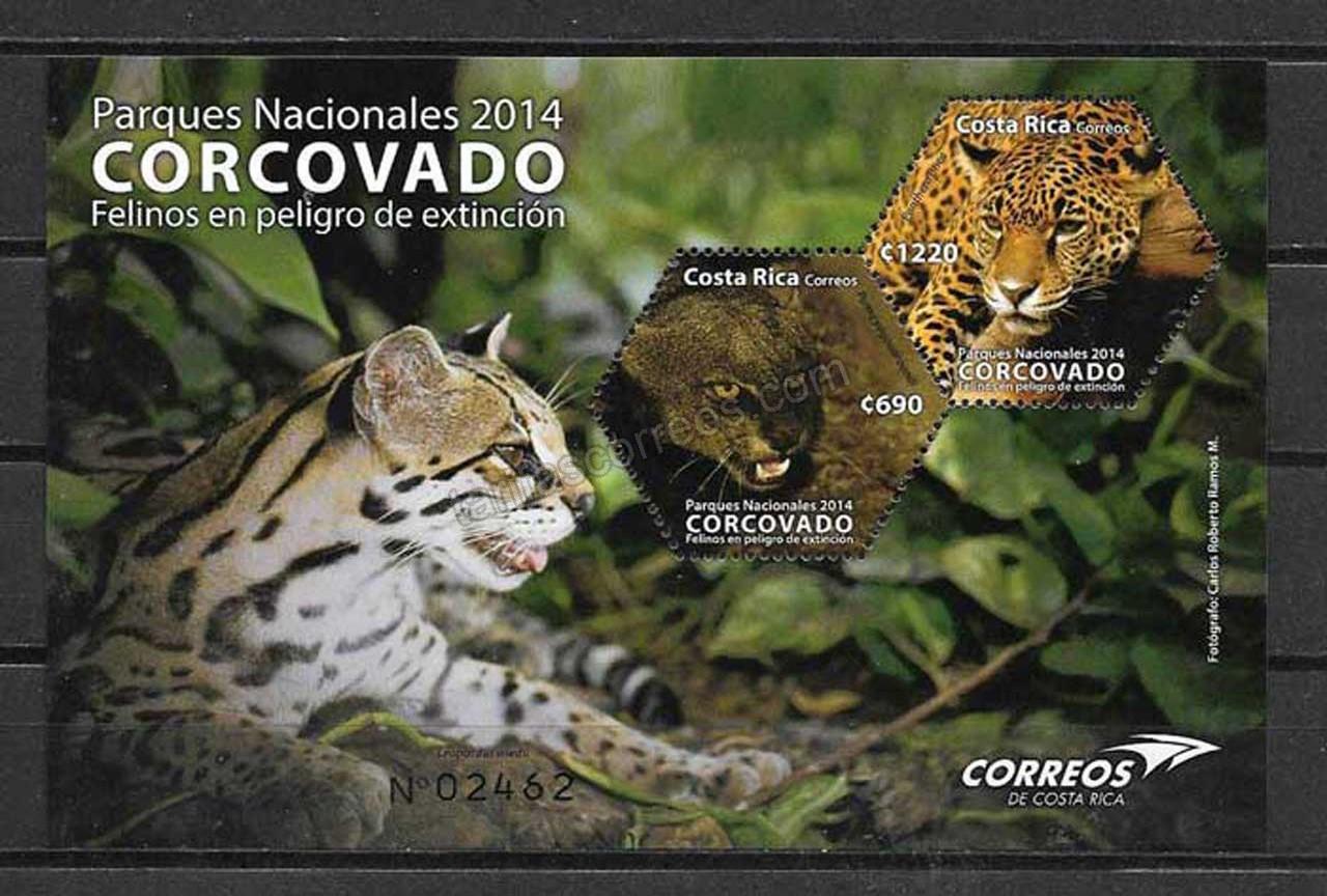 Sellos Filatelia online - fauna felinos Costa Rica