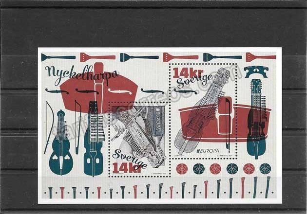 Sellos Tema Europa instrumentos musicales Suecia