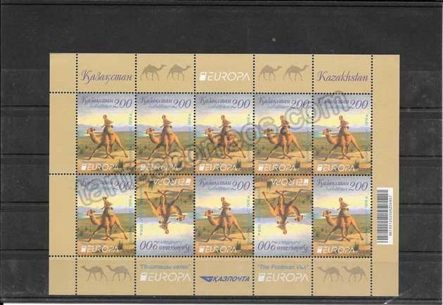 Colección sellos Tema Europa Kazakstán Hojita y Mini Pliegos Transporte Postal