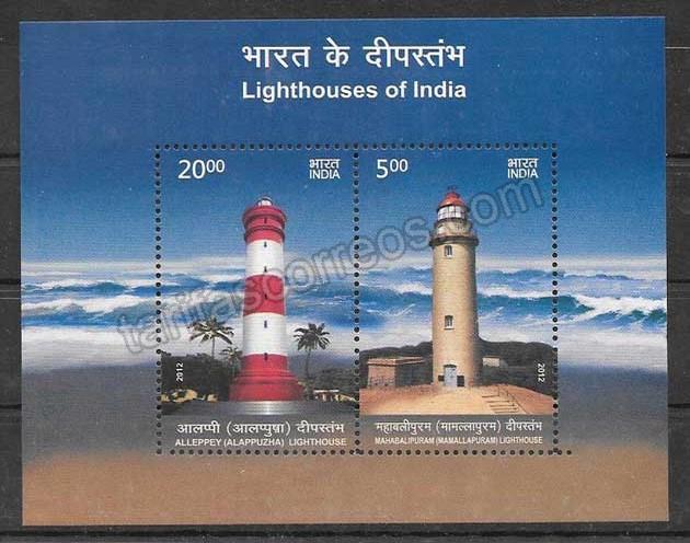 Colección sellos faros de la India 2012