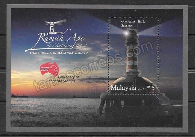 Colección sellos faro de Malasia