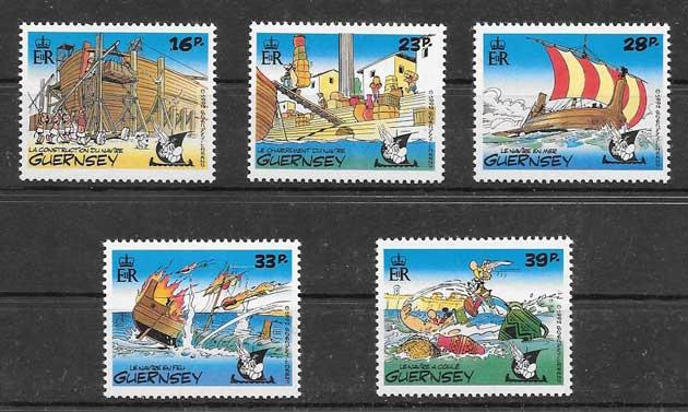 Colección sellos cómics de Guernsey 1992