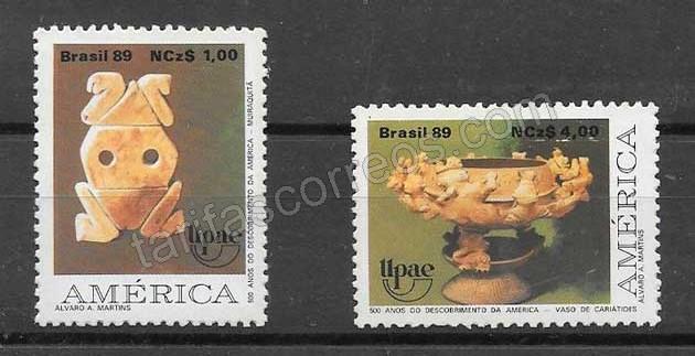 Sellos América UPAEP Brasil 1989