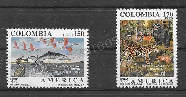 Filatelia sellos Colombia 1990